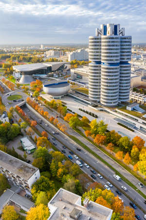 Munich München skyline aerial view photo town building architecture travel portrait format in Germany.