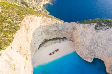 Zakynthos island Greece shipwreck Navagio beach travel vacation background drone view aerial photo photography