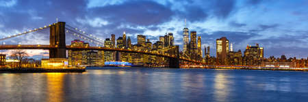 New York City skyline night Manhattan town panoramic view Brooklyn Bridge World Trade Center Imagens