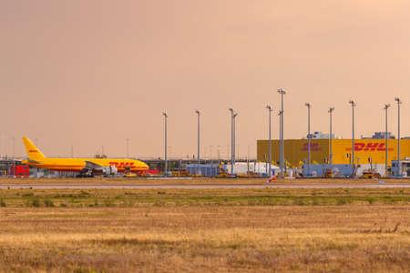 Leipzig, Germany - August 18, 2020: DHL Hub at Leipzig Halle LEJ Airport in Germany.