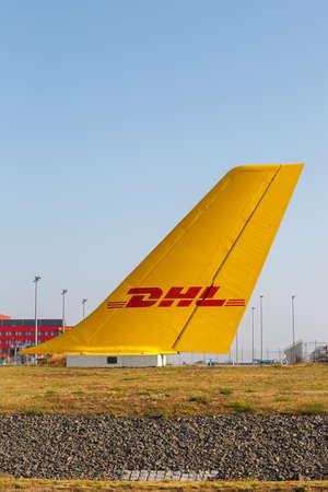 Leipzig, Germany - August 19, 2020: DHL headquarters hub at Leipzig Halle LEJ Airport in Germany.