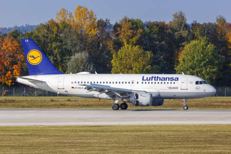 Munich, Germany - October 21, 2020: Lufthansa Airbus A319 airplane at Munich Airport (MUC) in Germany. Airbus is a European aircraft manufacturer based in Toulouse, France.