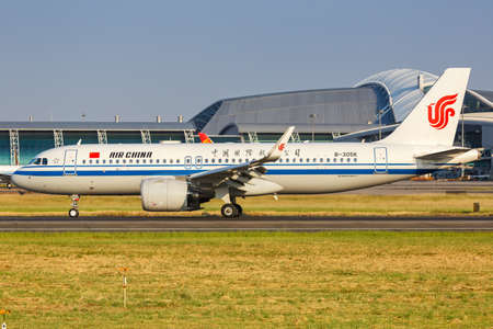 Guangzhou, China - September 23, 2019: Air China Airbus A320neo airplane at Guangzhou Baiyun Airport (CAN) in China. Airbus is a European aircraft manufacturer based in Toulouse, France.