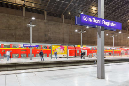 Cologne, Germany - November 2, 2019: Cologne Köln Bonn Airport train railway station in Germany.