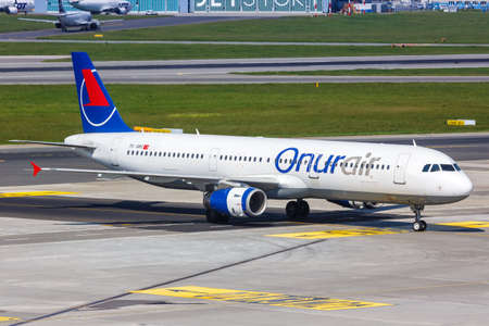 Warsaw, Poland - May 27, 2019: Onur Air Airbus A321 airplane at Warsaw Warszawa Airport (WAW) in Poland. Airbus is a European aircraft manufacturer based in Toulouse, France.