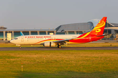 Guangzhou, China - September 23, 2019: Hainan Airlines Boeing 737-800 airplane at Guangzhou Baiyun Airport (CAN) in China.