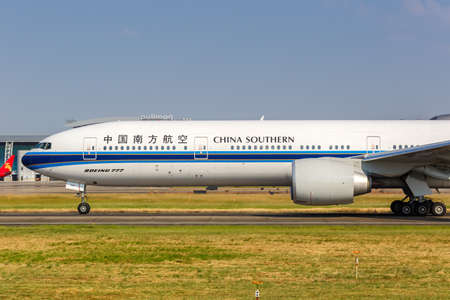 Guangzhou, China - September 23, 2019: China Southern Airlines Boeing 777-300ER airplane at Guangzhou Baiyun Airport (CAN) in China.