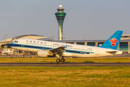 Guangzhou, China - September 23, 2019: China Southern Airlines Airbus A320 airplane at Guangzhou Baiyun Airport (CAN) in China.
