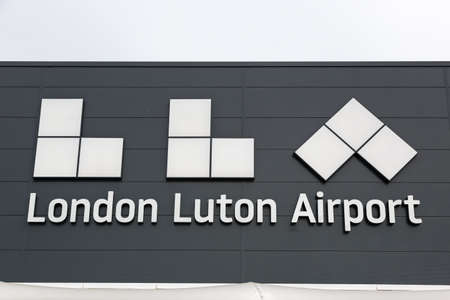 Luton, United Kingdom - July 9, 2019: Logo of London Luton Airport in the United Kingdom.