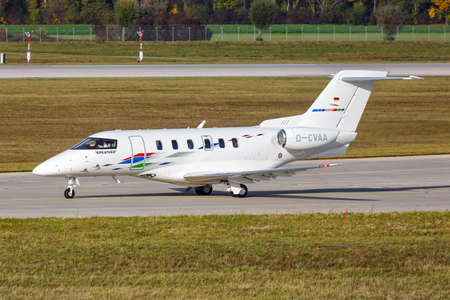 Munich, Germany - October 21, 2020: VW Air Services Pilatus PC-24 airplane at Munich Airport (MUC) in Germany. 新闻类图片