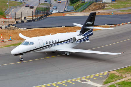 Luton, United Kingdom - July 9, 2019: Cessna 680A Citation Latitude airplane at London Luton Airport in the United Kingdom.