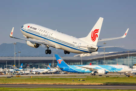 Guangzhou, China - September 23, 2019: Air China Boeing 737-800 airplane at Guangzhou Baiyun Airport (CAN) in China. Boeing is an American aircraft manufacturer headquartered in Chicago.