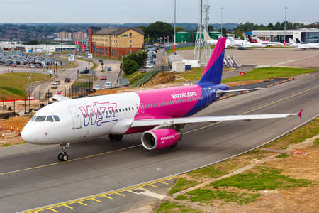 Luton, United Kingdom - July 9, 2019: Wizzair Airbus A320 airplane at London Luton Airport in the United Kingdom. Airbus is a European aircraft manufacturer based in Toulouse, France.