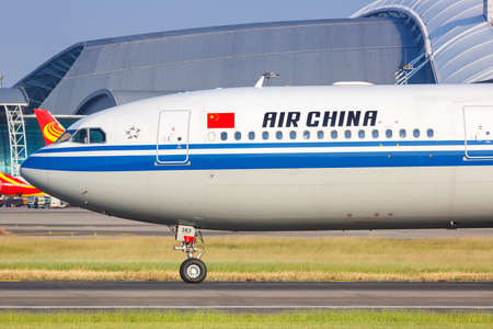 Guangzhou, China - September 23, 2019: Air China Airbus A330-300 airplane at Guangzhou Baiyun Airport (CAN) in China. Airbus is a European aircraft manufacturer based in Toulouse, France. 新闻类图片