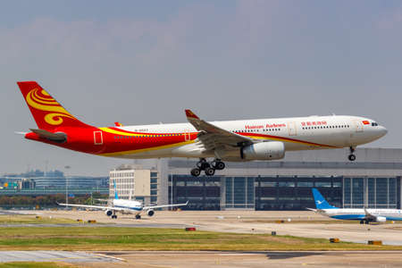 Shanghai, China - September 27, 2019: Hainan Airlines Airbus A330-300 airplane at Shanghai Hongqiao Airport in China. Airbus is a European aircraft manufacturer based in Toulouse, France.