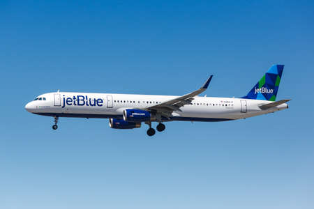 Los Angeles, California - April 12, 2019: JetBlue Airbus A321 airplane at Los Angeles International Airport in California. Airbus is a European aircraft manufacturer based in Toulouse, France.