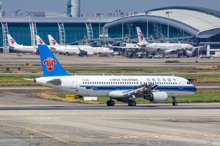 Guangzhou, China - September 24, 2019: China Southern Airlines Airbus A320 airplane at Guangzhou Baiyun Airport (CAN) in China.