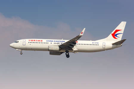 Shanghai, China - September 28, 2019: China Eastern Airlines Boeing 737-800 airplane at Shanghai Hongqiao Airport in China. 新闻类图片