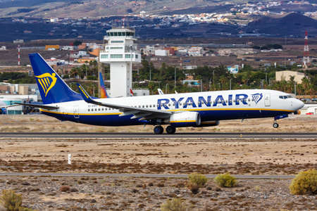 Tenerife, Spain - November 23, 2019: Ryanair Boeing 737-800 airplane at Tenerife South Airport in Spain. Boeing is an American aircraft manufacturer headquartered in Chicago.
