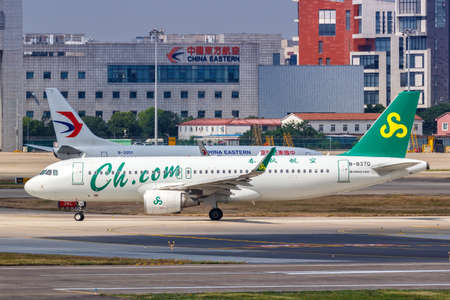 Shanghai, China - September 27, 2019: Spring Airlines Airbus A320 airplane at Shanghai Hongqiao Airport in China. Airbus is a European aircraft manufacturer based in Toulouse, France.