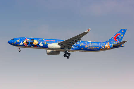 Shanghai, China - September 28, 2019: China Eastern Airlines Airbus A330-300 in the Disney Resort special livery airplane at Shanghai Hongqiao Airport in China.