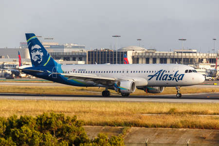 Los Angeles, California - April 14, 2019: Alaska Airlines Airbus A320 airplane at Los Angeles International Airport in California. Airbus is a European aircraft manufacturer based in Toulouse, France.