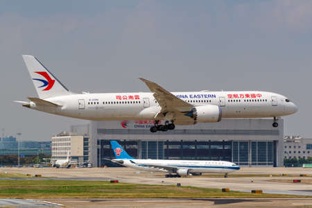 Shanghai, China - September 27, 2019: China Eastern Airlines Boeing 787-9 Dreamliner airplane at Shanghai Hongqiao Airport in China.