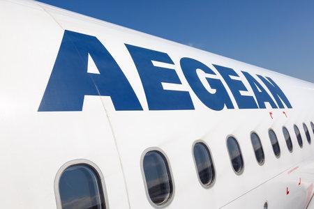 Heraklion, Greece - September 14, 2018: Aegean Airlines Logo Airbus airplane at Heraklion Airport (HER) in Greece. Editorial