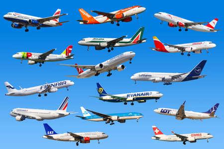 Frankfurt, Germany - April 7, 2020: Airplanes Airlines from Europe Lufthansa Ryanair Easyjet Swiss Air France. Redactioneel