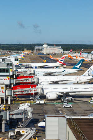 London, United Kingdom - July 31, 2018: Airplanes at London Gatwick airport (LGW) in the United Kingdom.