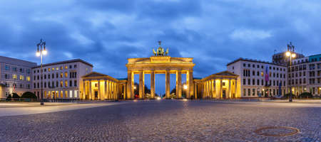Berlin Brandenburger Tor Brandenburg Gate in Germany at night blue hour panoramic view twilight
