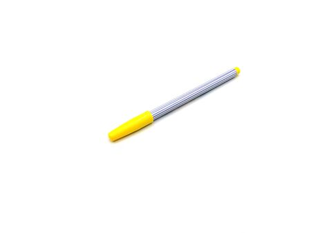 Yellow color pen on white background