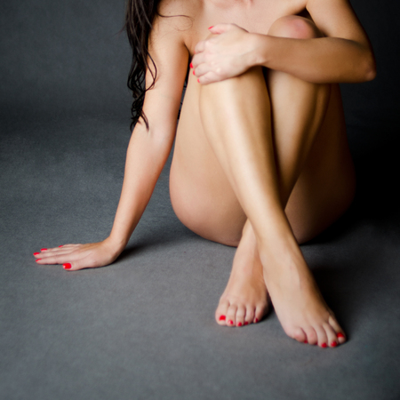 naked woman sitting: Naked sitting woman