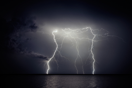 lightning storm: Lightning storm Stock Photo