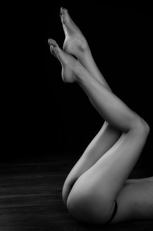 nude woman: Sexy long female legs