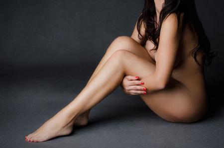feet naked: Naked sitting woman