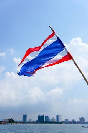 thailander: Thai flag at the sea