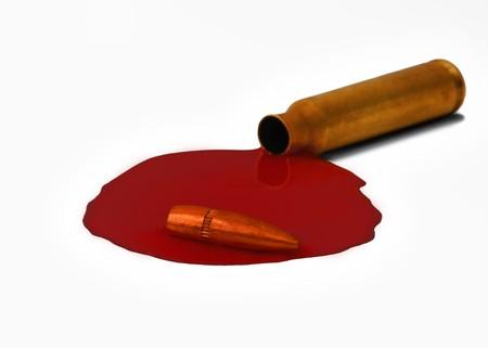 An M-16 assault rifle 5.56 mm bullet thats bleeding Stock Photo