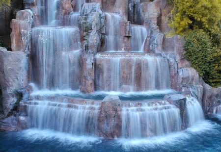 man made: Man made waterfalls in Las Vegas, Nevada. Stock Photo