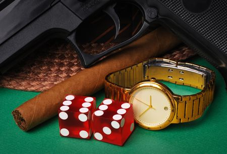 Mobster traditional accessories Stock Photo