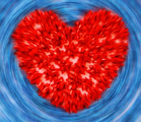 Red heart with circular blue as background – made of ribbons Stock Photo