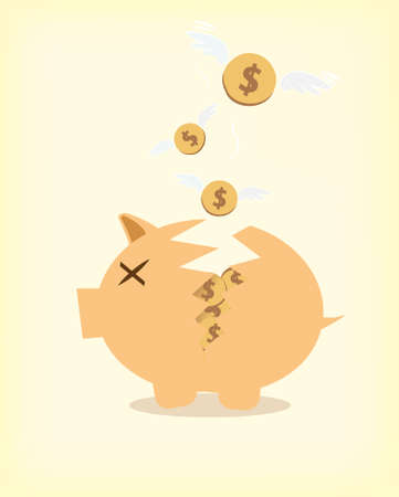 Broken Piggy Bank Stock Vector - 20351682