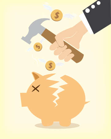 Piggy bank with money inside and hammer Stock Vector - 20401424