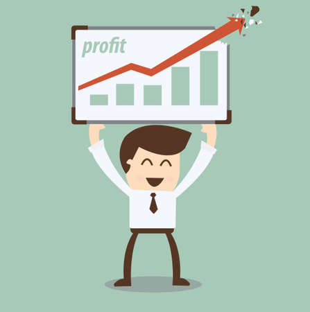 young businessman points to chart Success graphic  Stock Vector - 20401428