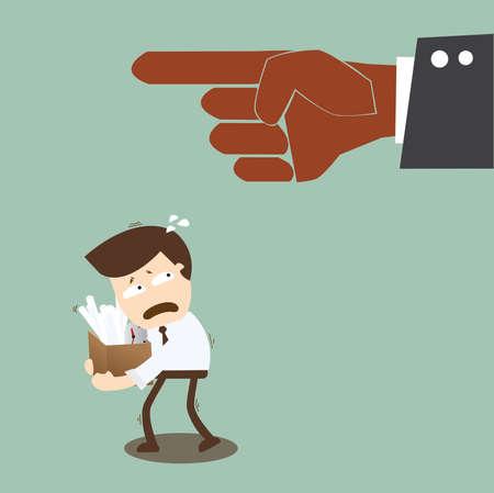 baas afvuren van een zakenman in een pak Vector Illustratie