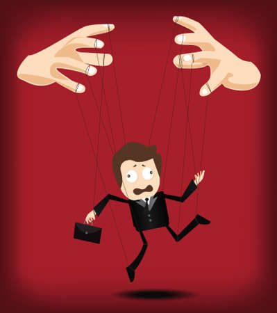 control of body movement: businessman puppet