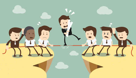 Concept of team and competition in business  Illustration