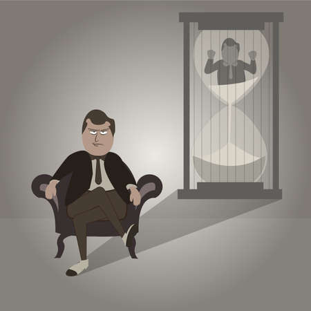 sand trap: Mafia Business Prisoner and sand glass  Illustration