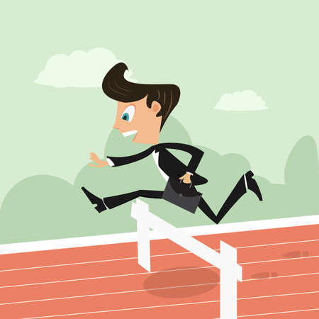 hurrying: business person in a hurdle race