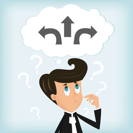ponder: Businessman in confusion of a choice  Illustration